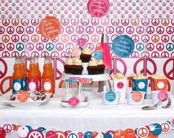Peace, Love and Party Birthday PRINTABLE Party Collection - You Customize EDITABLE TEXT >> Instant Download | Paper and Cake