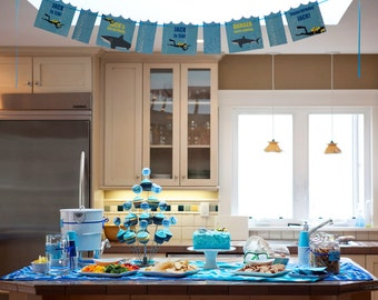 Shark and Scuba Birthday PRINTABLE Party Collection - You Customize EDITABLE TEXT >> Instant Download <<
