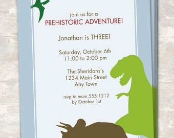 PRINT & SHIP Dinosaur Dig Birthday Party Invitations (set of 12)  >> personalized and shipped to you << Paper and Cake