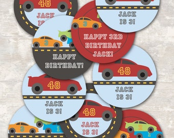 PRINT & SHIP Race Car Birthday Party Cupcake Toppers (set of 12) | Paper and Cake