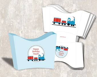 PRINT & SHIP Train Birthday Party Snack Boxes (set of 12) >> personalized and shipped to you | Paper and Cake