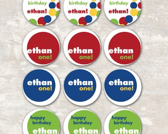 Bouncy Ball Birthday Party Cupcake Toppers (set of 12) PRINT & SHIP