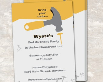 PRINT & SHIP Under Construction Birthday Party Invitations (set of 12) >> personalized and shipped to you | Paper and Cake