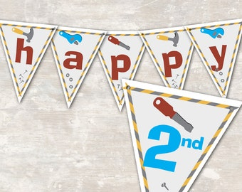 """PRINT & SHIP Under Construction Birthday Party Pennant Banner (""""Happy 1st Birthday"""") >> personalized and shipped to you 
