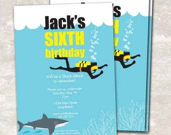 PRINT & SHIP Shark and Scuba Birthday Party Invitations (set of 12) >> personalized and shipped to you << Paper and Cake