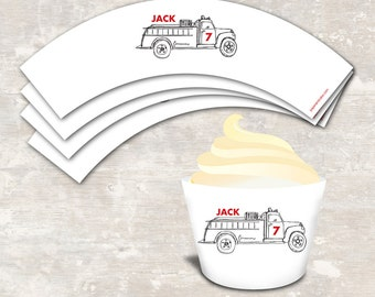PRINT & SHIP Fire Truck Birthday Party Cupcake Wraps (set of 12) | Paper and Cake