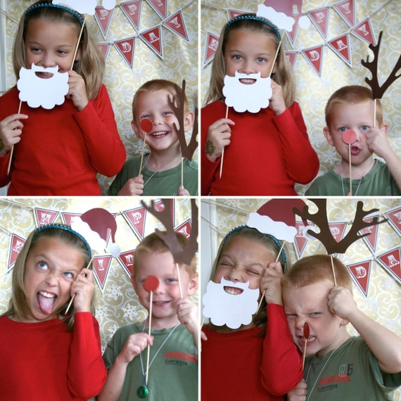 Holiday Christmas Santa Claus Printable PHOTO BOOTH PROPS - Editable Text >> Instant Download <<