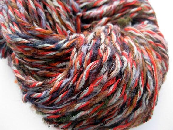 SALE 20% OFF, Upcycled handmade yarn, Pumpkin Raku
