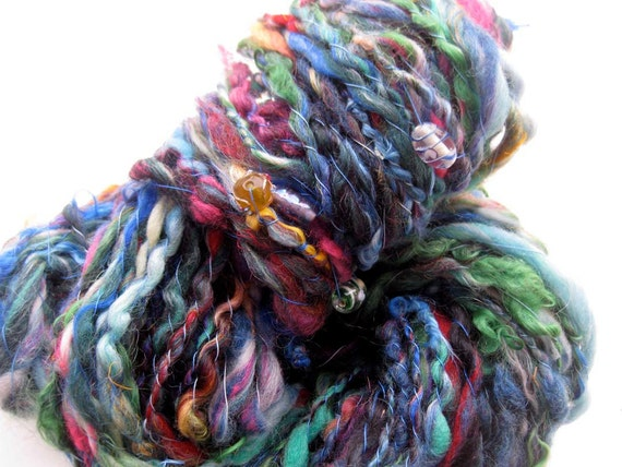 handspun art yarn: Going out of shelter as the storm abates