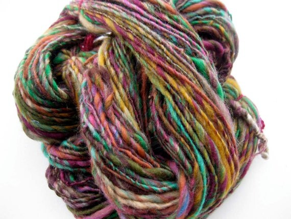 BOGO SALE-read announcment-handspun yarn, Forest Garden