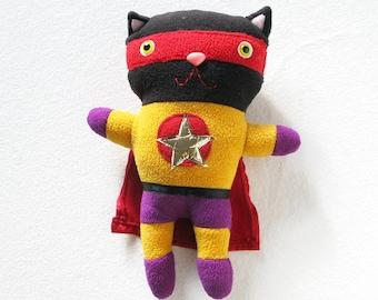 Cat Super Hero plush, Recycled Fabric