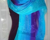 Elegant Hand Painted Silk Chiffon Jacquard Scarf \/ Shawl