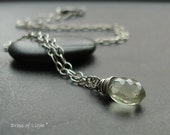 Illuminate Necklace handmade with Green Amethyst (Prasiolite) and oxidized Sterling Silver