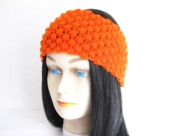 Women Teens Headband, Knitted Ear Warmers, Hat Replacement, Orange Acrylic Yarn, Ready To Ship