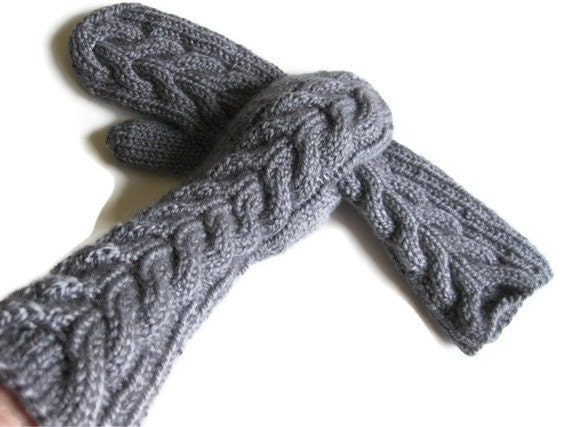 Bela twilight mittens / hand knit / elbow length / acrylic blend / oxford grey / ready to ship