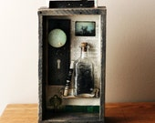 altered art shadow box assemblage- poetry