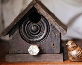 antique door trim and vintage glass knob- recycled reclaimed outsider folk art bird house