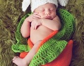 sweet bunny on the carrot,carrot cocoon and bunny rabbit hat,newborn 3mready to shipping in 2-3 days,Easter and more
