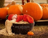 newborn photo prop,Pumpkin Harvest,adorable cocoon wrap and beanie with leaves for newborn,great for photos prop ,soft,stretched and cuddly - fairyshred