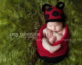 Lady Bug cocoon wih Lady Bag hat,newborn photo prop,cute,soft stretched and cuddly