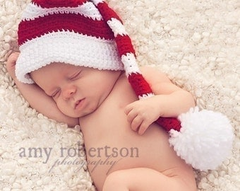 newborn photo prop, HOHOHO cute Christmas hat with pompom,great for photo prop and present for your sweet one,0-12m