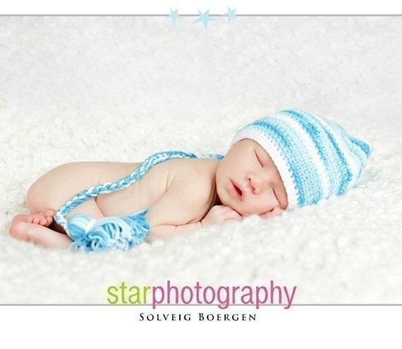 Crochet Newborn Stocking Elf Hat , Crochet Infant Photo Prop, Ocean Breeze, 0 m,3m,6m,12m, custom order, Munchkin Pixie Beanie