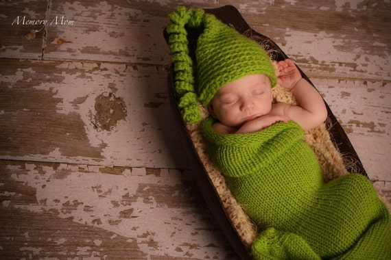 newborn photo prop cocoon with pixie hat, sweet pea  ,newborn photo props ,baby boy, baby girl     s,,soft stretched and cuddly