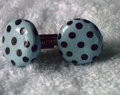 Light Blue and Chocolate Brown Polka Dot Cufflinks