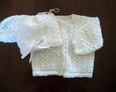 Hand Crocheted Baby Sweater Set (White)
