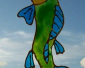 Yellow, Blue & Green Leaping Koi Fish Tattoo Window Cling Sticker Decal