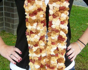 Pom Pom Scarf in Tan and Brown