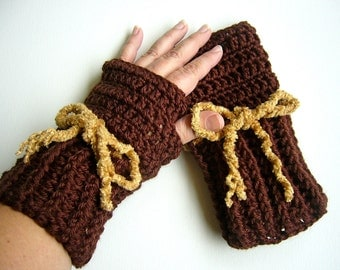 Chocolate Brown Fingerless Gloves with Gold Chenille Lacing