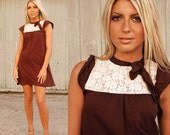 Chocolate Brown Jersey and Cream Lace Mini Dress