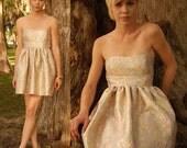 Rococo Strapless Tapestry Jacquard Mini Dress Medium