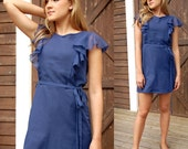 Cotton Voile Dress with Flounce Sleeves