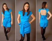 Turquoise Open Back Silk Dress - More colors available - LARGE