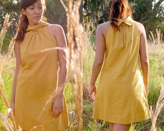 Helen Linen Rustic Sleeveless Dress w Fabric Buttons, Gathered Neckline and Chunky Cowl Neck - Available in Several Colors - Bridesmaid