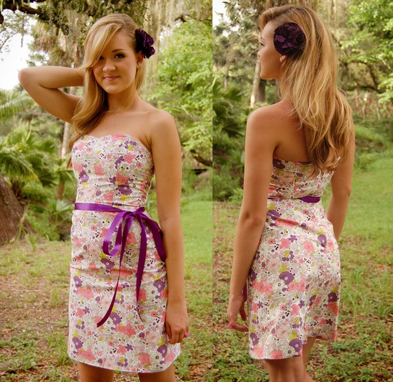 Lydia Strapless Floral Dress SMALL