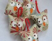 Peppermint Owls, Ornaments, Set Of Five