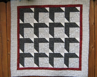 Modern Wall Hanging Black And Gray Art Quilt  Gray Boxes