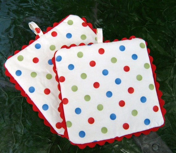 Pot Holders, Polka Dots , Set Of Two