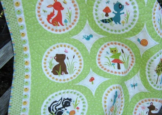 Baby Quilt ,  Forest Animals , Spring Green