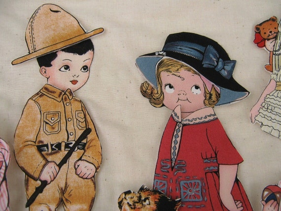 Paper Dolls , Boy And Girl , Fabric