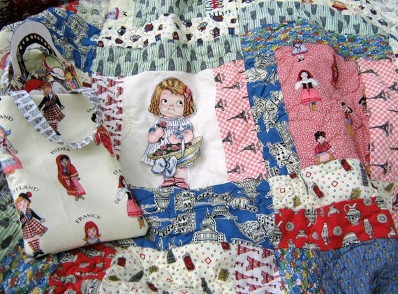 Girls Twin Quilt , Colorful Dolls , Friends