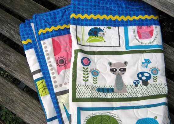 Woodland Baby Quilt , Bright Critters