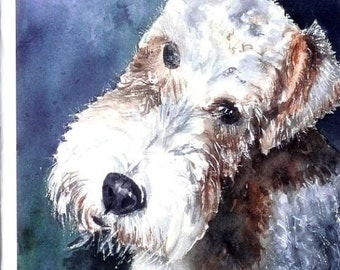 Toby- Wired Hair Fox Terrier Watercolor Note Card