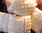 Set of TWO 12 Inch Ruffled Muslin Pillow Covers-Your Choice with Free Shipping