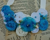 FREE Shipping...Teal Blue and Beautiful...Striking Rosette Necklace with Satin Ribbons, Sheer Flower, Beading and More