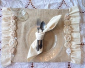 Custom Made for You..Set of TWO Shabby Chic Place Mats French Charm with Rosettes, Burlap, Muslin Ruffles