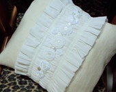 """Burlap Decor 18"""" x 18"""" square Pillow Cover Beautiful White Burlap and Muslin Shabby Chic with ruffles, rosettes and more"""